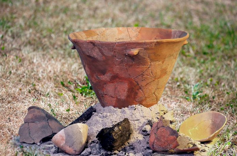 Clay vessels used to obtaining salt by evaporation of brine by Lengyel culture people in Neolithic Period (ca. 4000 BC)