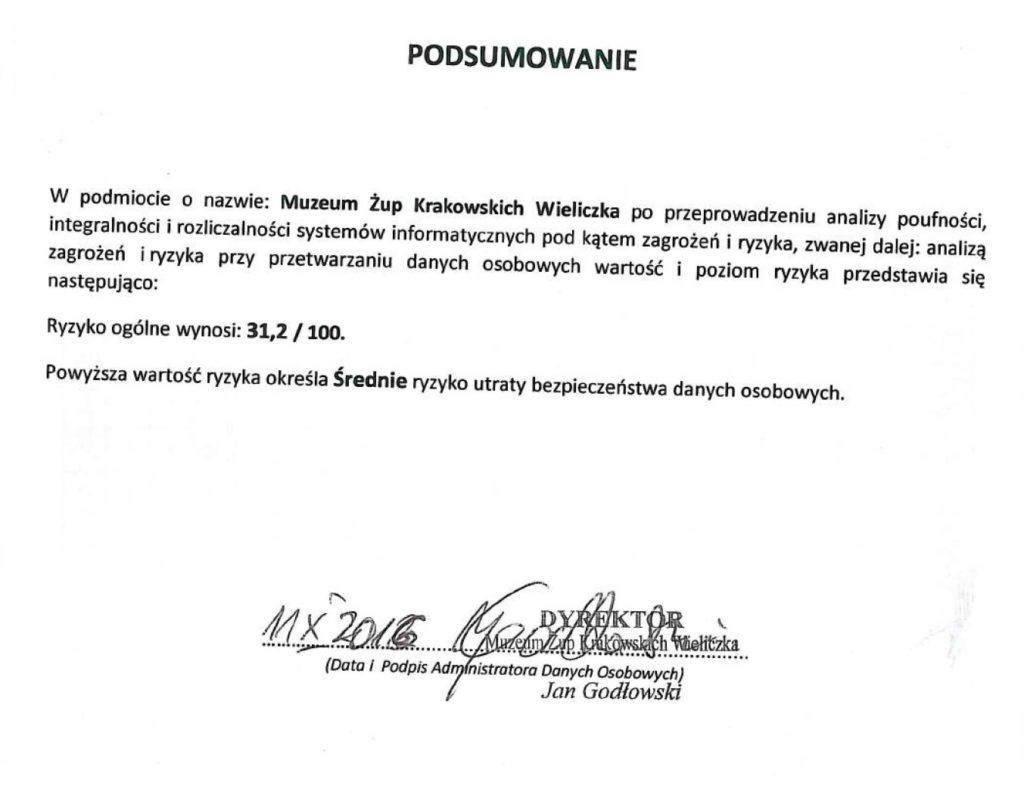 Poziom ryzyka w Muzeum Żup Krakowskich Wieliczka pod kąem poufności, integralności i rozliczalności systemów informatycznych