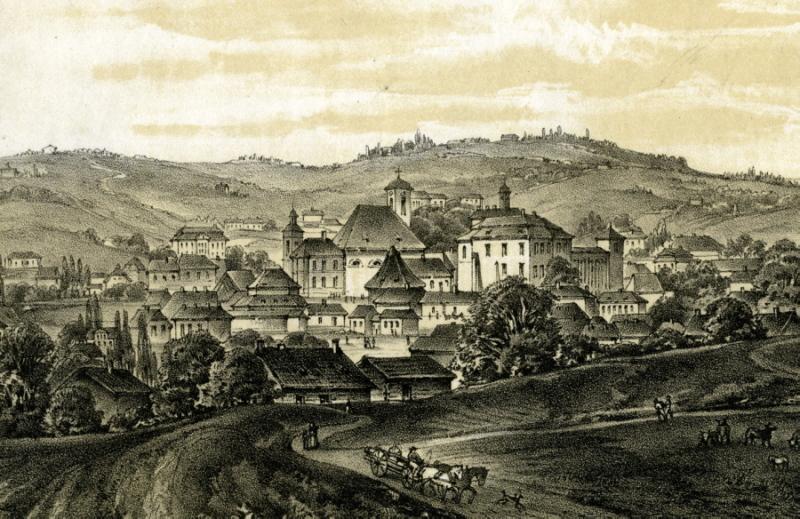 Wieliczka od strony Krakowa, ok. 1860., fragment Muzeum Żup Krakowskich Wieliczka