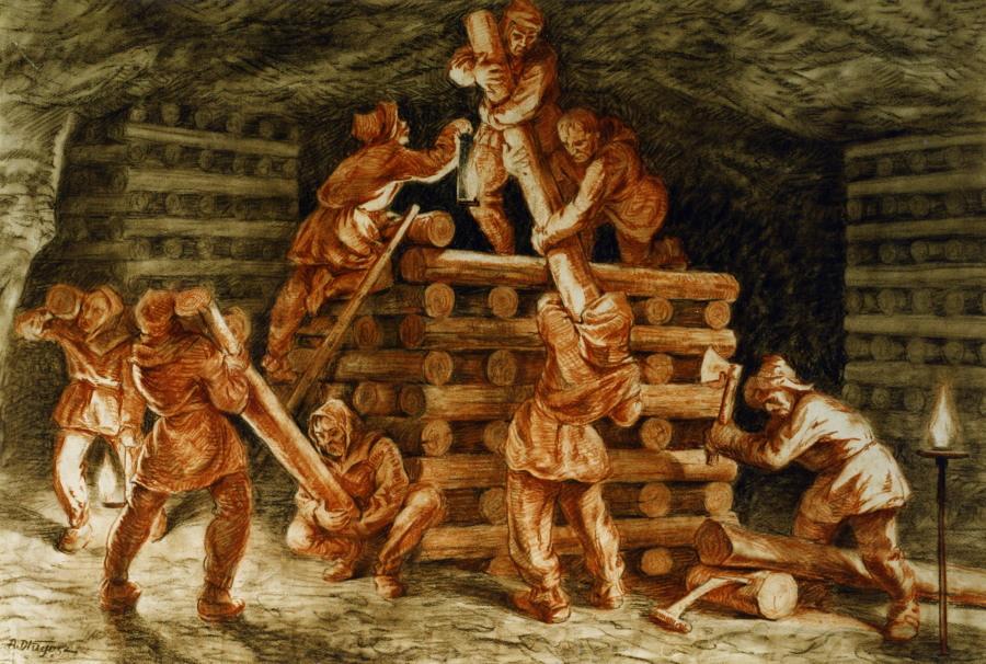 budowa kasztów, mal. Alfons Długosz