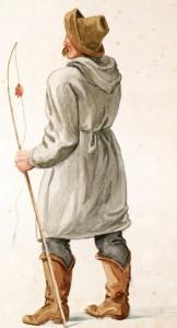 rybarz, w dawnej Żupie górnik obsługujący konie, mal. Alfons Długosz