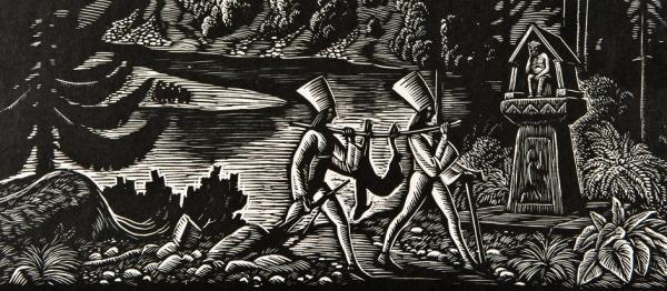 600 x 262 b Pejzaż z zamkiem orawskim, Władysław Skoczylas, drzeworyt, papier, 1929 r.