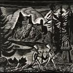 Pejzaż z zamkiem orawskim, Władysław Skoczylas, drzeworyt, papier, 1929 r.