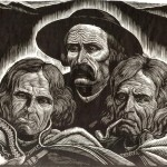 Trzy głowy górali, drzeworyt, Władysław Skoczylas 1928 r.