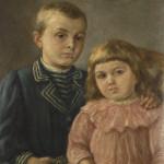 Dzieci artysty Czesław i Zofia , mal. F.Olesiński ok. 1889 r., Muzuem Żup Krakowskich Wieliczka