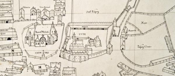 600 262 Fragment planu Wieliczki z zespołem zamku, aut. Marcin German, 1638 r. S