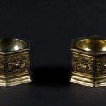 para solniczek pozłacanych w kształcie sześcioboków ze scenami polowań, H. Arnold, XVI w. Augsburg