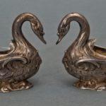 para solniczek srebrnych łabędzie, E. Molle, Francja Paryż, XIX w.