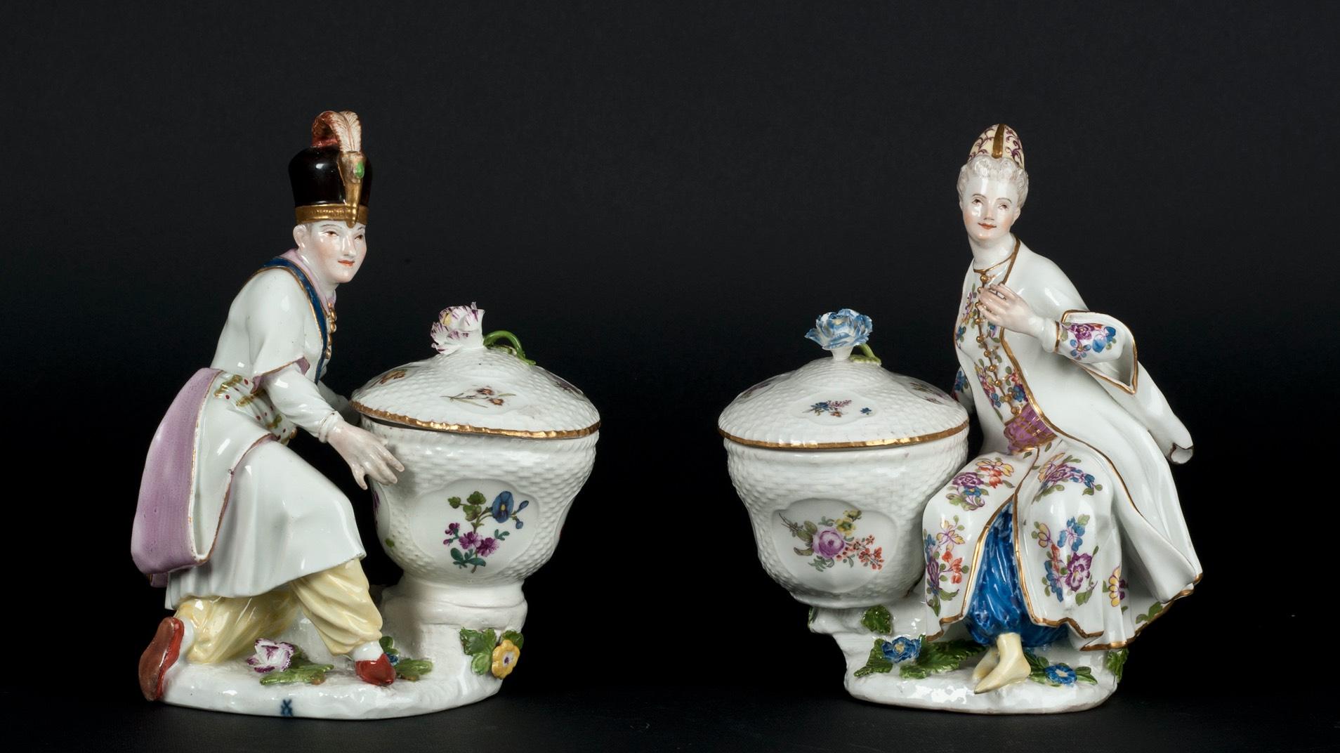 Porcelanowe figurki Turków, XVIII wiek, Miśnia.